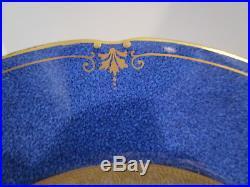 12 Wedgwood 10.25 Dinner Plates Gold Encrusted Verge, Cobalt Mottled Body