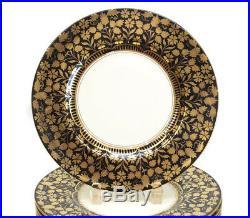 12 Wedgwood Porcelain Dinner Plates, circa 1910. Black and Gold Designs