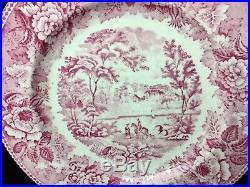 12 Wedgwood Raspberry White Scenic Transfer 10&1/4 Dinner Plate Gold Edges