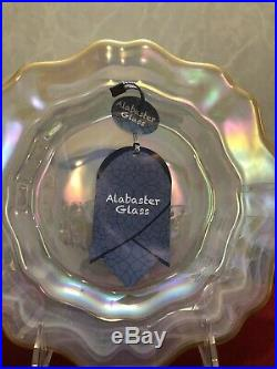2 pcs Set Salad Plate White Pearl Swirl Luster Glass New Alabaster