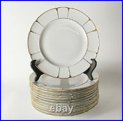 12pc Rosenthal Bavaria Barrock Dinner Plates, c1920. Off white with gold
