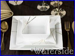 12pc Square Dinner Set Gold Porcelain Crockery Dining Service for 4 Plates Bowls