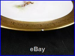 13 Elite Limoges Dinner Plates Gilt Gold Bird Game Signed Handpainted Antique