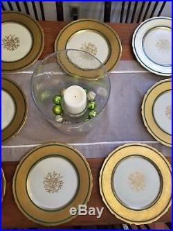 (14) T&v Limoges France Gold Encrusted Green Medallion Dinner Plate 1030 Charger