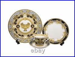 16 Pcs Black/Grey Gold Greek Key Versailles Dinner Set, Service for 4