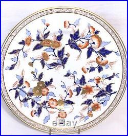 18 Rare Royal Worcester Dinner Plates Z2460 Red Blue Gold Floral Gold Gilt