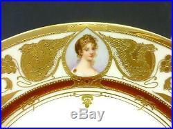 1890 Dresden Ambrosius Lamm Konigin Luise Queen Cameo Portrait Gold Dinner Plate