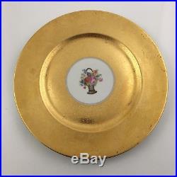1920s Heinrich & Co SET 8 Dinner Plate Gold Encrusted Floral Center