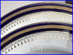 2 Antique Minton Cobalt Blue Raised Gold Encrusted Cabinet Dinner Plates 8.75
