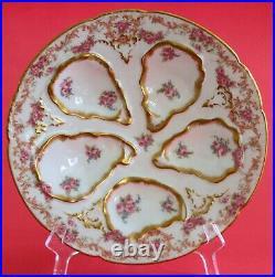 2 Stunning HAVILAND LIMOGES GDA Oyster Plates Pink Roses Gold Rose Border