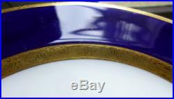 20 c. 1919 Antique Cobalt Blue & Gold MINTON England 10 Dinner Plates & 10 Bread