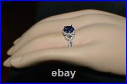 3 Carat Premium Aaa Tanzanite & 64 Diamonds Gypsy Dinner 14k White Gold Plating