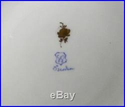 3 Dresden Meissen Porcelain Dinner Plates Flowers & Insects Gold Rose Mark 10