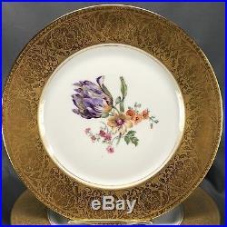 (3) Heinrich H&Co Selb Bavaria C Studios Gold Encrusted 10 3/4 Dinner Plates