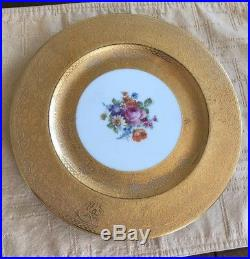 3 Royal Bavarian Hutschenreuther Selb Encrusted Gold & Floral Dinner Plates 3E