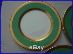 3 Vintage Crown Staffordshire Porcelain Green & Gold Encrusted Dinner Plates