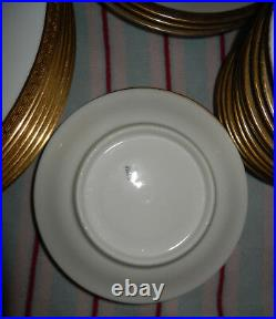 33 Plates VINTAGE Original LIMOGES FRANCE CORONET GOLD ENCRUSTED RIM ON WHITE