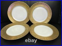 4 Antique Hutschenreuther Selb Bavaria Wide Gold Encrusted 10 3/4 Dinner Plate