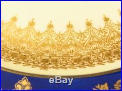 4 George Jones & Sons Crescent Floral Gilded & Cobalt Blue DINNER Plates 10.5