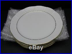 4 HEREND Feher Basketweave Scalloped Edge WHITE Dinner Plates WithGold Rim 10 1/8