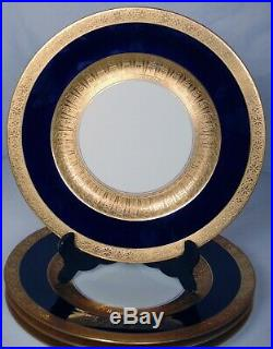 4 Royal Bavarian Hutschenreuther Cobalt Blue Gold Dinner Plates Chargers 11