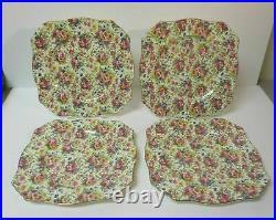 4 Royal Winton Grimwades Summertime Chintz Dinner Plates Gold Vintage 9 3/4