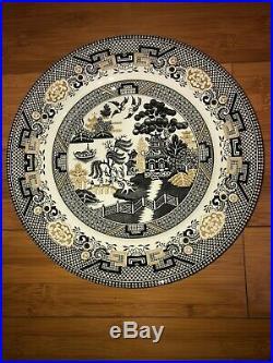 4 x England ROYAL STAFFORD Black Gold Willow Garden Porcelain Dinner Plates 11