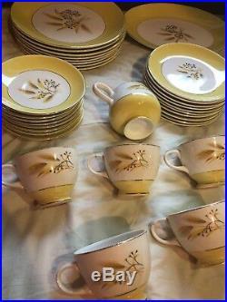 45 Pcs Vintage Century Service Corp Autumn 22kt Gold Rime Wheat Pattern Wedding