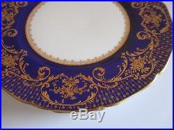 4x ANTIQUE ROYAL DOULTON COBALT RAISED GOLD ENCRUSTED DINNER PLATES