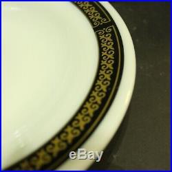 53 Pc Pyrex Fleur De Lis Black Gold Dish Set Dinner Plates Bowls Platter Vtg
