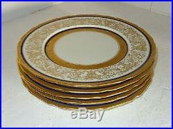 6 Antique French Porcelain Limoges Heavy Gold & Cobalt Blue Dinner Plates