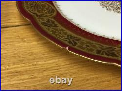 6 Antique LIMOGES Porcelaine L. R. L. 9 1/2 Red Plates withEmbossed Gold on Rim