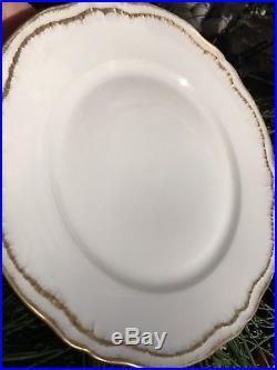 6 Antique Limoges Haviland Gold Raised Rim Scalloped Dinner Plates Excellent