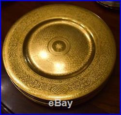 6 Antique Minton Gilded Gilt Dinner/Service Plates Gold Encrusted Incrustation