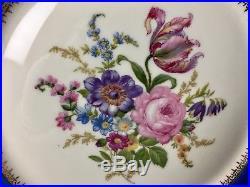 6 Baronet 10&3/4Dinner Plates Bohemia Czechoslovakia Blue Rim Floral Gold Edges