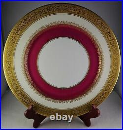 6 Heinrich Bavaria Gold Encrusted Maroon Band Vintage Porcelain Cabinet Plates