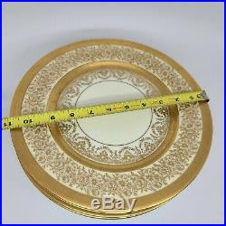 6 Heinrich & Co Selb Edgerton Gold Encrusted Porcelain Dinner Service Plates set