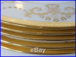 6 Minton Raised Gold Art Nouveau Dinner Plates, Circa 1920