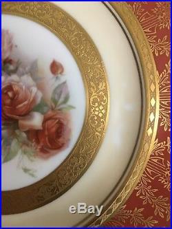 (6) Royal Bavarian Hutschenreuther Gold Encrusted 10.625 DINNER PLATES wROSES