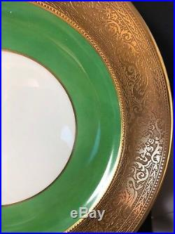 6 Shelley China 10 1/4 Dinner Plates Green Gold Band Cherubs SHE90 (21)