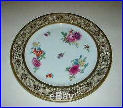 6 Tirschenreuth #49 Bavaria Germany Dinner Plates Floral Center & Gold Filigree