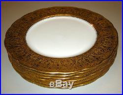 6 VTG GEORGE JONES Gold Encrusted Crescent Fine China Dinner Plates England
