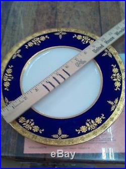 7 Minton For Tiffany Raised Gold Encrusted Cobalt Dinner Plates Excellent Mint