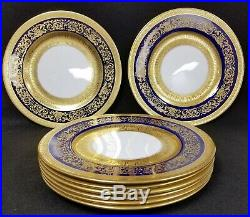8 Antique Crown Staffordshire China Plates Gold & Cobalt Blue 10 1/4 Diameter