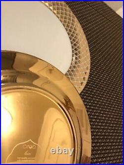 (8) Ciroa Luxe Metallic Gold Lattice Dinner Plates NEW
