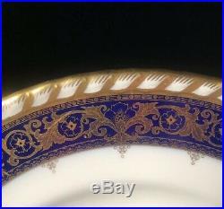 8 England Minton Tiffany Dinner Plates Cobalt Blue Rim Encrusted Gold H4272