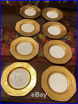 8 George Jones & Sons Crescent Gold Encrusted Octagonal 10-1/2 Dinner Plates Ex