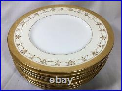 (8) Minton H3087 Gold Encrusted/Beaded 10.3 DINNER PLATES with Eagles & Urns
