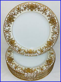 8 NoritakeCHRISTMAS BALL GOLD 10 1/2 DINNER PLATES #175