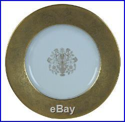 8 Pirkenhammer Gold Encrusted Rim Dinner Plates Epiag Czechoslovakia Bohemia Vtg